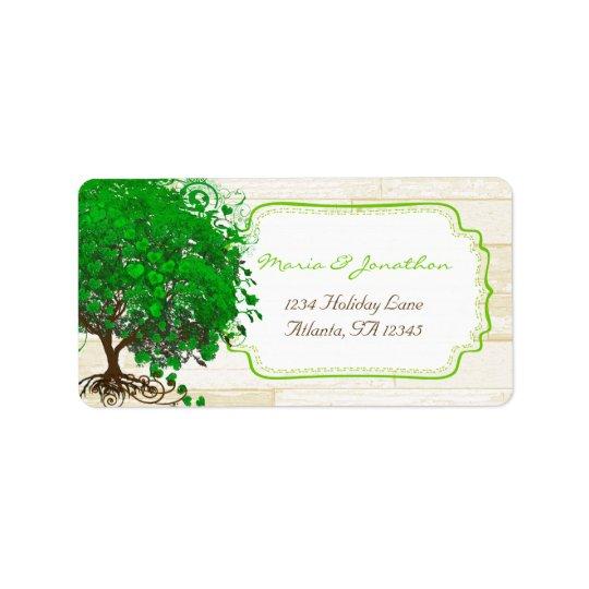 Cute Whimsical Emerald Green Heart Leafed Tree Label