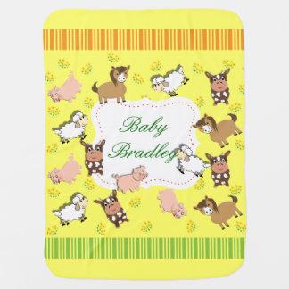 Cute Whimsical Farm Animals Theme Baby Blanket