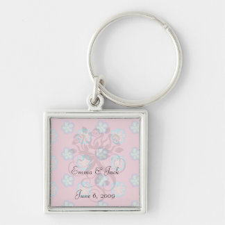 cute whimsical flowers on pink Silver-Colored square key ring