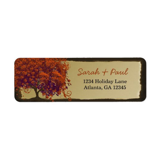 Cute Whimsical Heart Leafed Dark Coral Tree Return Address Label