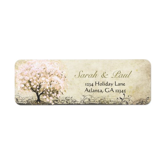 Cute Whimsical Heart Leafed Tree Light Pink Dots Return Address Label