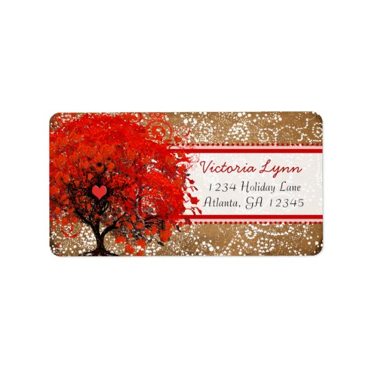 Cute Whimsical Heart Leafed Tree Red Pink Dots Address Label