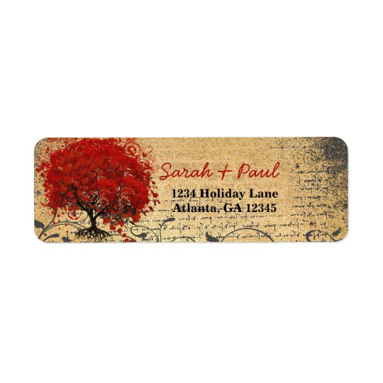 Cute Whimsical Heart Leafed Tree Red Pink Dots Return Address Label