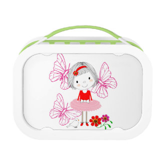 Cute Whimsical Little Girl Butterfly Flowers Lunch Box