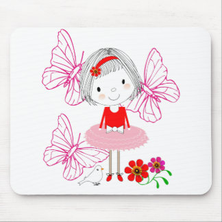 Cute Whimsical Little Girl Butterfly Flowers Mouse Pad
