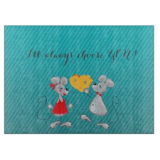 Cute Whimsical  Mouses-I`ll always choose you Cutting Board