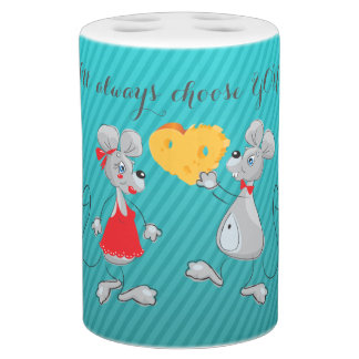 Cute Whimsical  Mouses-I`ll always choose you Toothbrush Holders