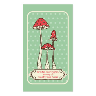 Cute whimsical mushrooms parent calling card business cards