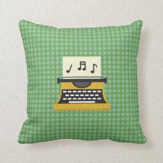 Cute Whimsical Music Note Typewriter Cushion