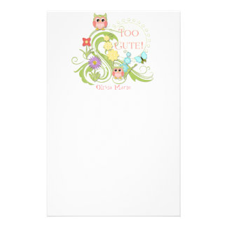 Cute Whimsical Owl n Butterfly Scroll Floral Art Stationery