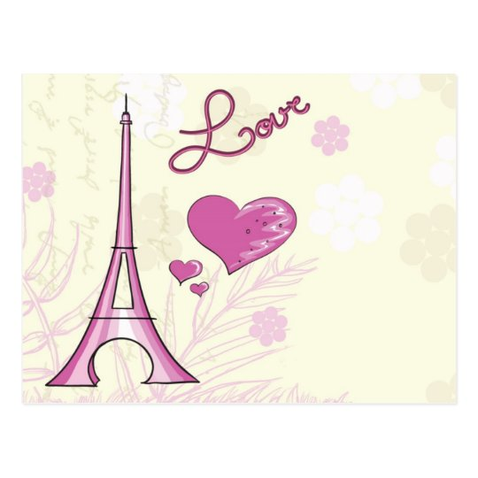 Cute & Whimsical Paris is Love Postcard