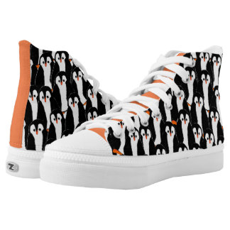 Cute Whimsical Piles of Penguins High Tops