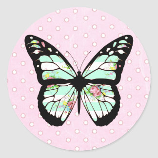 Cute Whimsical Pink and Teal Butterfly Stickers