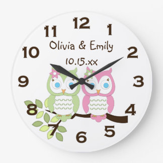 Cute Whimsical Pink Green Owl Twins Wall Clock