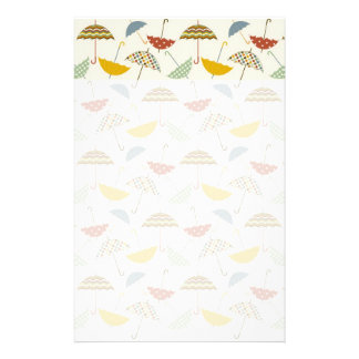 Cute Whimsical Rainy Day Umbrella Pattern Personalised Stationery
