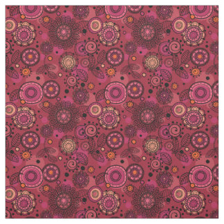 Cute whimsical Rosy Red Floral Print Fabric