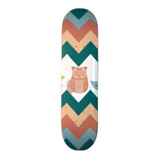 Cute Whimsical Spring Chevron Owls Flowers Birds 21.6 Cm Old School Skateboard Deck