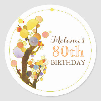 Cute Whimsical Trees Birthday Classic Round Sticker
