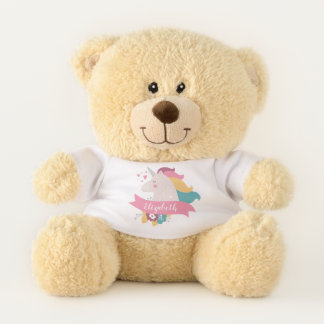 Cute Whimsical Unicorn | Floral Personalized Teddy Bear