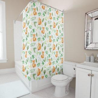 Cute Whimsical Watercolor Fox Green Leaves Shower Curtain