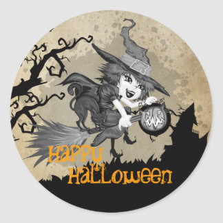 Cute Whimsical Witch Halloween Sticker