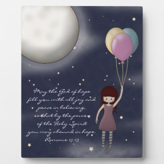 Cute Whimsical Young Girl with Balloons Plaques