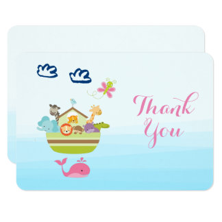 Cute Whimsical Zoo Animal Ark Baby Shower Thanks Card