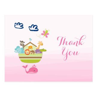 Cute Whimsical Zoo Animal Ark Baby Shower Thanks Postcard