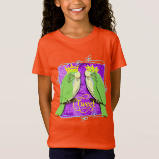Cute  Whimsy Green Budgies Tweet Fun T-Shirt