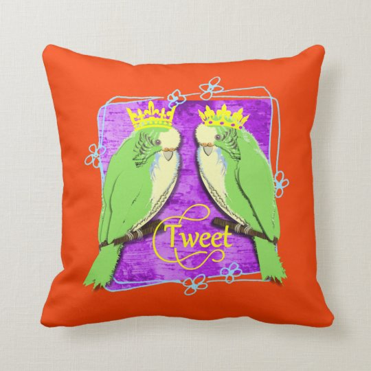 Cute  Whimsy Green Budgies Tweet Fun Throw Pillow