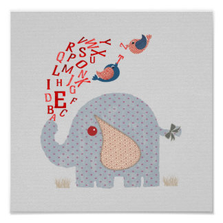 Cute Whimsy Kids Alphabet Elephant Poster