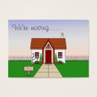 Cute, Whisical Cartoon Cottage Change of Address Business Card