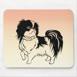 Cute White and Black Dog on Orange Mousepad