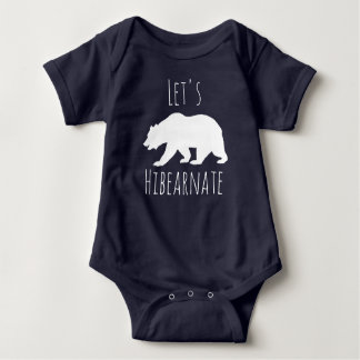 "Cute White Bear ""Let's Hibearnate"" Baby Bodysuit"