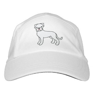Cute White Boxer Dog Illustration Hat