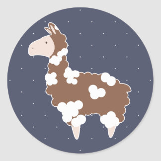 Cute White & Brown Spotted Llama Classic Round Sticker