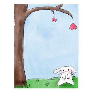 Cute white bunny postcard