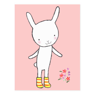 Cute White Bunny Rabbit Yellow Boots Postcard MiKa