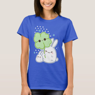 Cute white bunny with kawaii clover T-Shirt