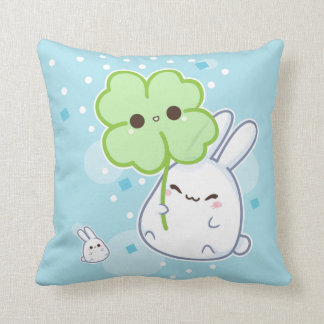 Cute white bunny with kawaii clover throw pillow