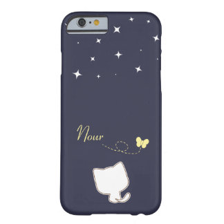 cute white cat and butterfly in a starry night barely there iPhone 6 case