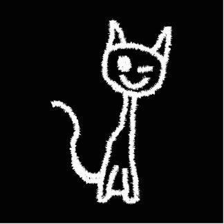 Cute White Cat Cartoon. On Black. Standing Photo Sculpture