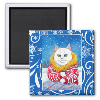 Cute white cat, Christmas winter nature Magnet
