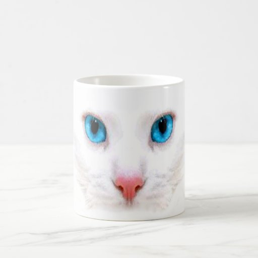 cute white cat,funny mug mugs