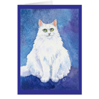Cute white cat or kitten watercolor greeting card