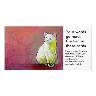 Cute white cat painting fun whimsical original art photo greeting card