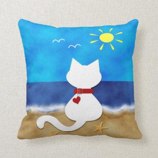 Cute White Cat Summer Ocean Beach Theme Pillow