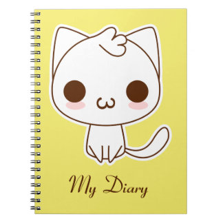 Cute White Cat with a kawaii catface Notebooks