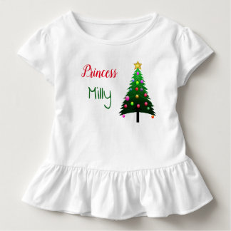 """Cute white """"Christmas tree"""" personalised Toddler T-Shirt"""
