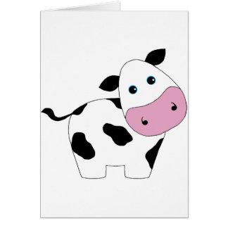 Cute White Cow Card